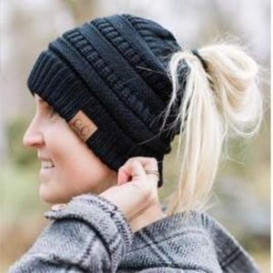 Accessories - Black Beanie Messy Bun High Ponytail Hat
